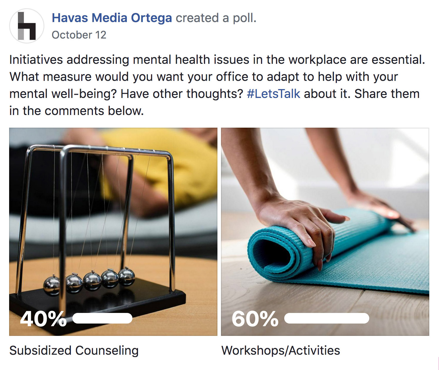 A screenshot of a Facebook poll asking: What measure would you want your office to adapt to help with your mental well-being. Out of the two choices, 40% say subsidized counseling, while 60% say workshop/activities.