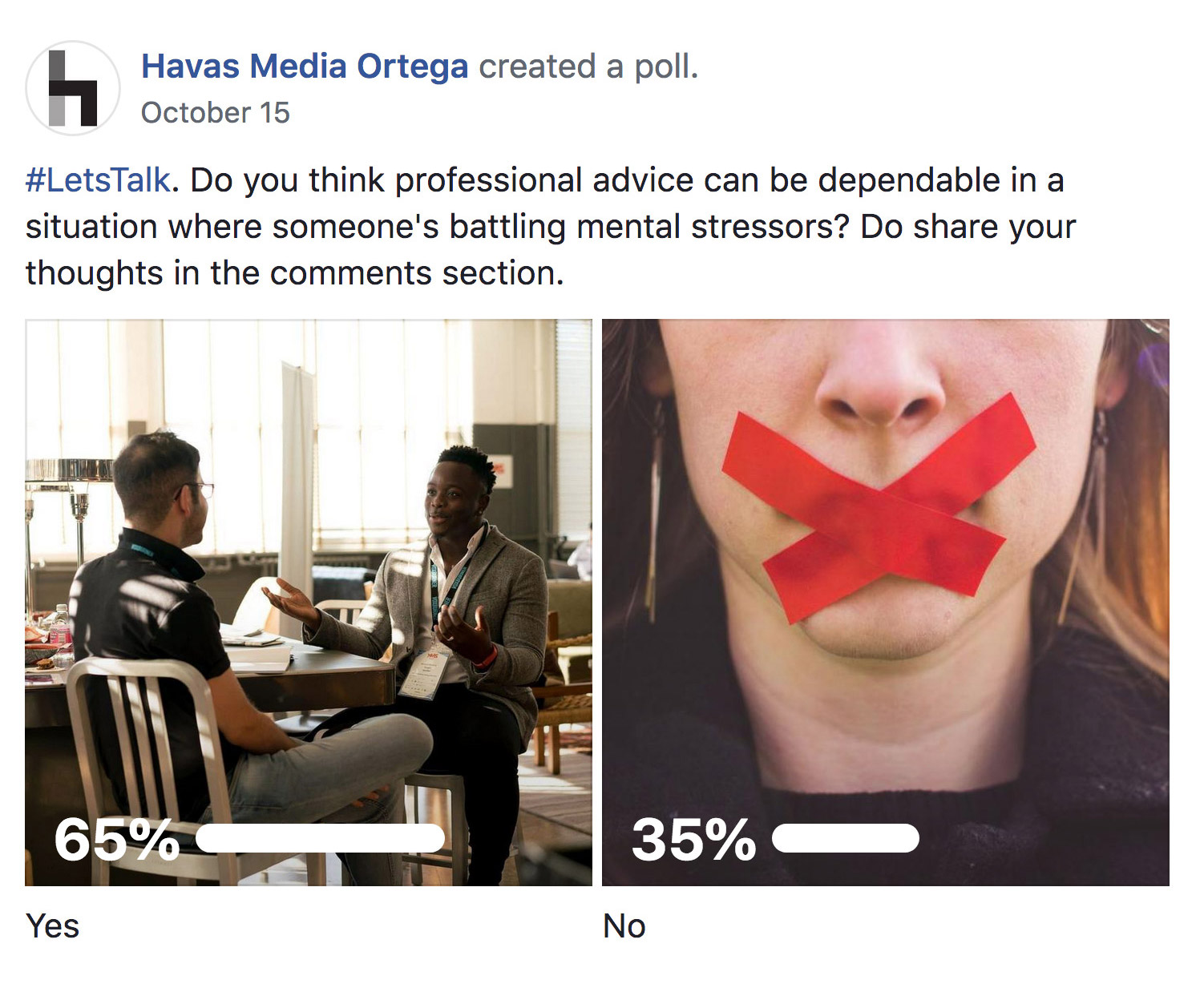 A screenshot of a Facebook poll asking: Do you think professional advice can be dependable in a situation where someone's battling mental stressors? 65% say Yes, while 35% say No.